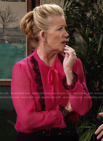 Nikki's pink blouse with black lace on The Young and the Restless