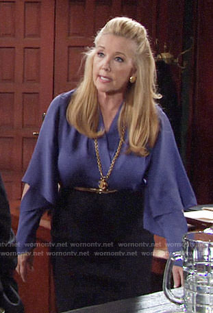Nikki's purple blouse with cutout sleeves on The Young and the Restless