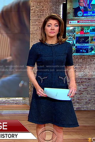 Norah's blue tweed dress with pearls on CBS This Morning