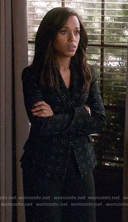 Olivia's black dotted blazer on Scandal
