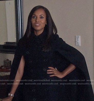 Olivia's black cape coat on Scandal