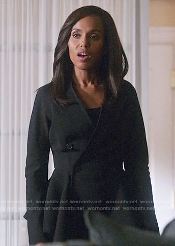 Olivia's black peplum blazer on Scandal