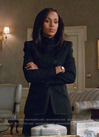 Olivia's black structured jacket with satin trim on Scandal