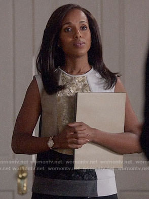 Olivia's gold colorblock lace top on Scandal