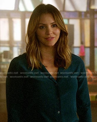 Paige's teal green button down blouse on Scorpion