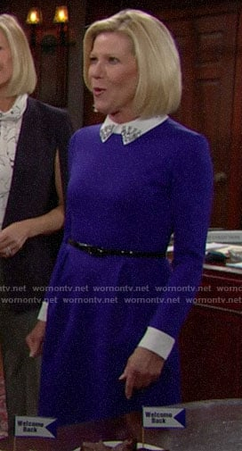 Pam's blue dress with embellished collar on The Bold and the Beautiful