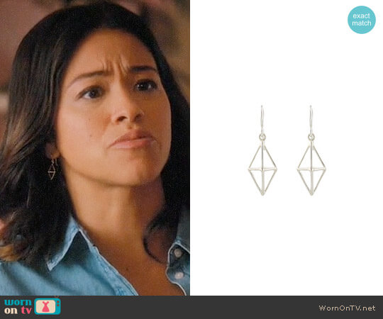 Peggy Li Triangle Cage Earrings worn by Jane Villanueva (Gina Rodriguez) on Jane the Virgin