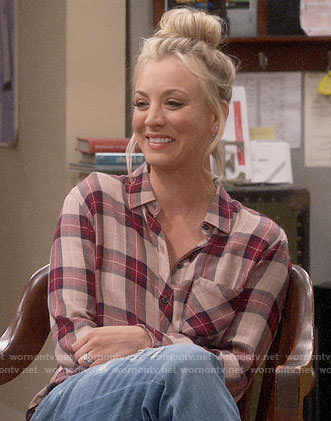 Penny's beige and red plaid shirt on The Big Bang Theory