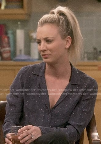 Penny's navy printed button down shirt on The Big Bang Theory