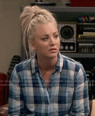 Penny's blue checked button down shirt on The Big Bang Theory