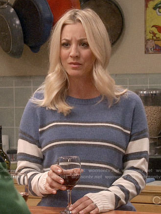 Penny's blue mixed stripe sweater on The Big Bang Theory