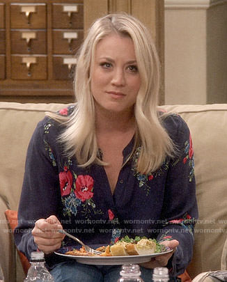 Penny's navy blouse with pink flower print on The Big Bang Theory