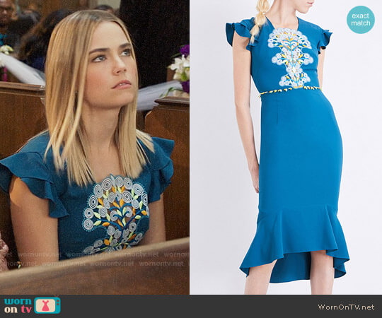 Peter Pilotto Lace-overlay Crepe Dress worn by Rebecca Rittenhouse on The Mindy Project