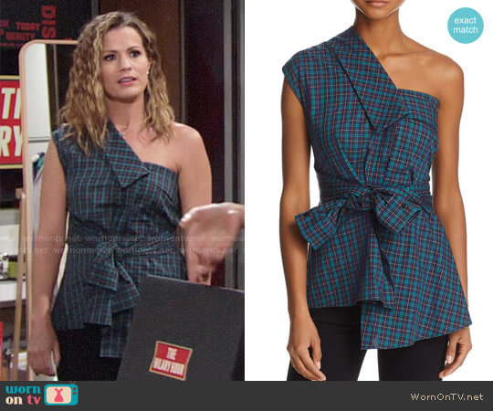 Petersyn Hadley Plaid One-Shoulder Top worn by Chelsea Lawson (Melissa Claire Egan) on The Young & the Restless