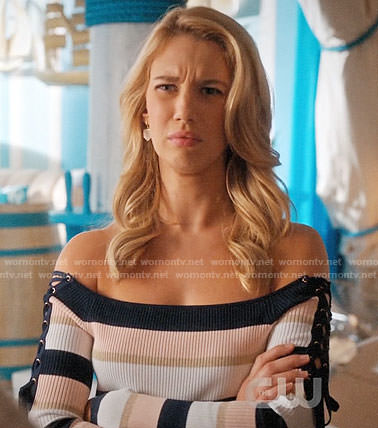 Petra's striped off-shoulder top with lace-up sleeves on Jane the Virgin