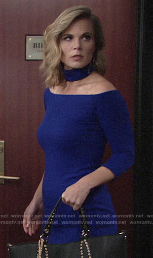 Phyllis's blue choker neck dress on The Young and the Restless