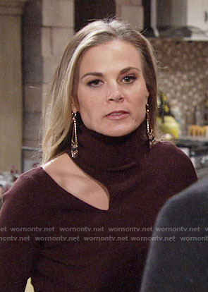 Phyllis's burgundy turtleneck sweater with cutout on The Young and the Restless