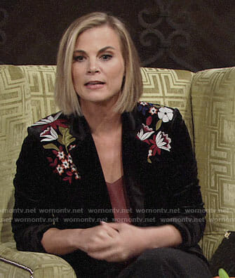 Phyllis's embroidered velvet jacket on The Young and the Restless