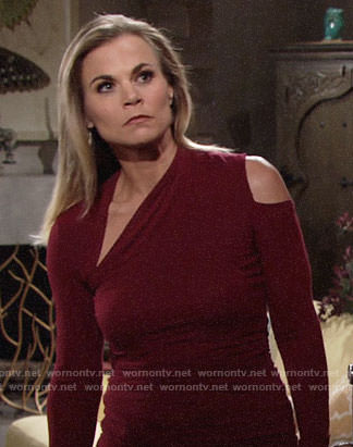 Phillys's red top with cutouts on The Young and the Restless