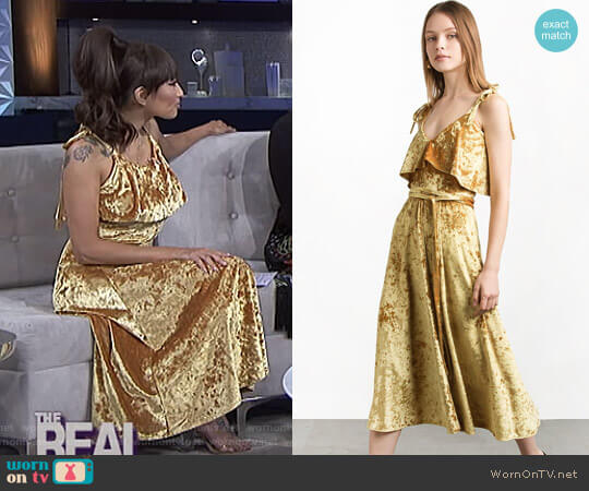 Marygold Velvet Shoulder Tie Slip Dress by Pixie Market worn by Jeannie Mai  on The Real