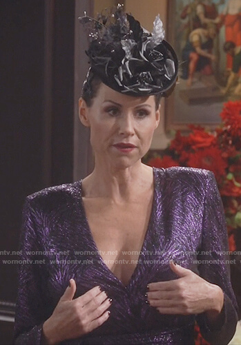 Lorraine Finster's purple metallic drape dress on Will and Grace