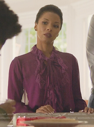 Catherine's purple ruffle blouse on Marvel's Runaways