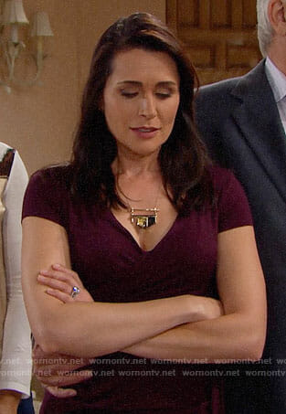 Quinn's purple wrap top on The Bold and the Beautiful