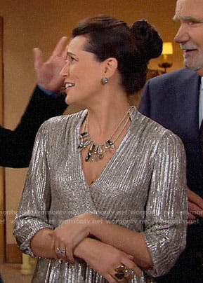 Quinn's metallic Thanksgiving dress on The Bold and the Beautiful