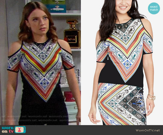RACHEL Rachel Roy Scarf Print Knit Blouse worn by Courtney Grosbeck on The Bold & the Beautiful
