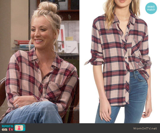 Rails Hunter Shirt in Sand/Navy/Port worn by Penny Hofstadter (Kaley Cuoco) on The Big Bang Theory