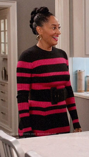 Rainbow's black and pink striped sweater dress on Black-ish