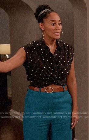 Rainbow's black dotted crop top on Black-ish