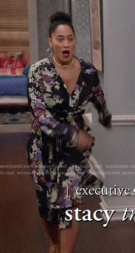 Rainbow's floral wrap dress on Black-ish