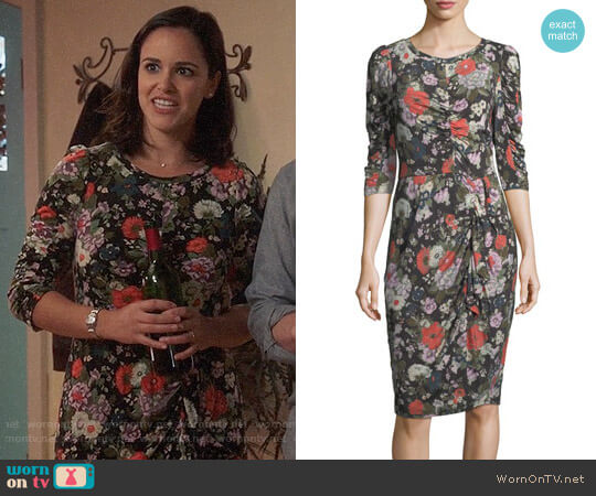 Rebecca Taylor Floral-Print Crewneck Long-Sleeve Jersey Dress with Ruching worn by Amy Santiago (Melissa Fumero) on Brooklyn Nine-Nine