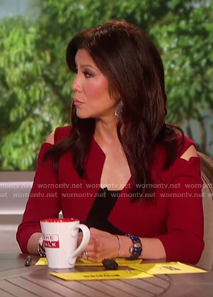 Julie's red cold shoulder asymmetric dress on The Talk