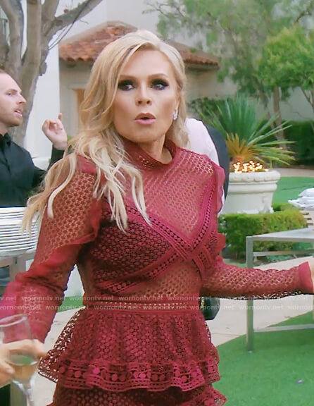 Tamra's red lace mini dress on The Real Housewives of OC