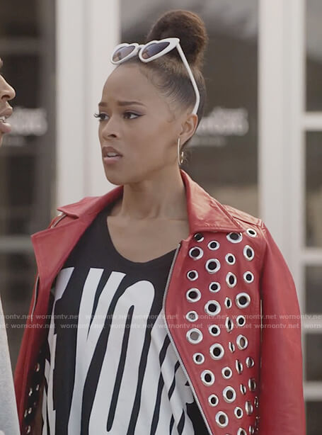 Tiana's red grommet jacket and print top on Empire