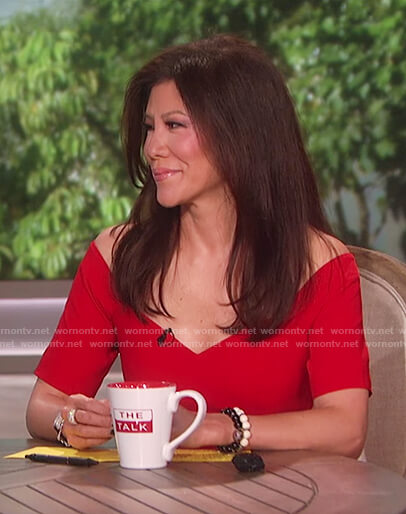 Julie's red off shoulder peplum hem dress on The Talk