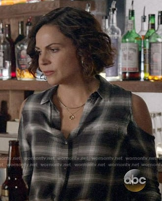 Roni's black plaid cold-shoulder shirt on Once Upon a Time