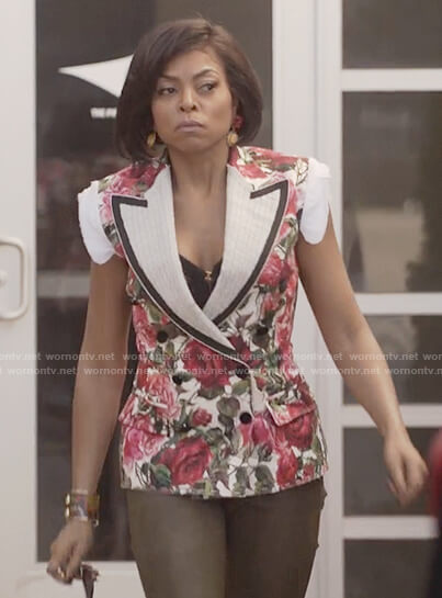 Cookie's rose print sleeveless jacket on Empire