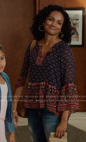 Sabine's blue and red printed blouse on Once Upon a Time