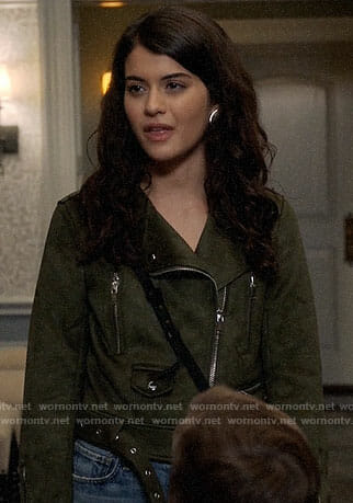 Sabrina's green suede moto jacket on The Mick