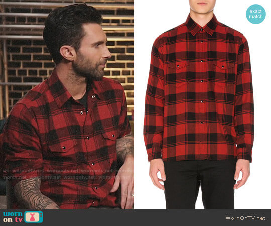Saint Laurent Double Front Patch Pocket Plaid Shirt worn by Adam Levine on The Voice