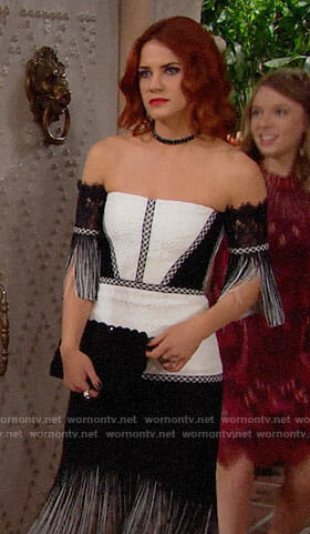 Sally's black and white off-shoulder Thanksgiving dress on The Bold and the Beautiful