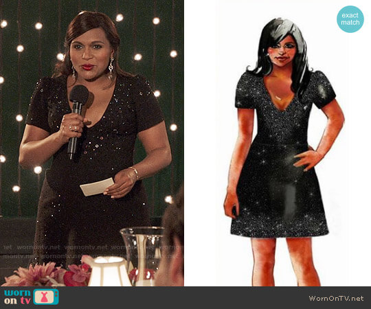 Salvador Perez Black Embellished Dress worn by Mindy Lahiri (Mindy Kaling) on The Mindy Project