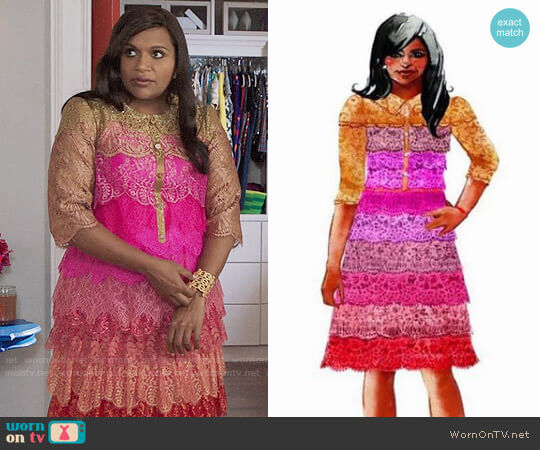Salvador Perez Pink Lace Dress worn by Mindy Lahiri (Mindy Kaling) on The Mindy Project