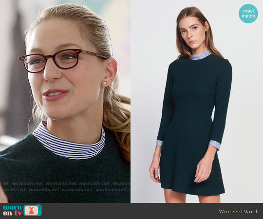 Sandro Gigi Dress with Striped Details worn by Melissa Benoist on Supergirl