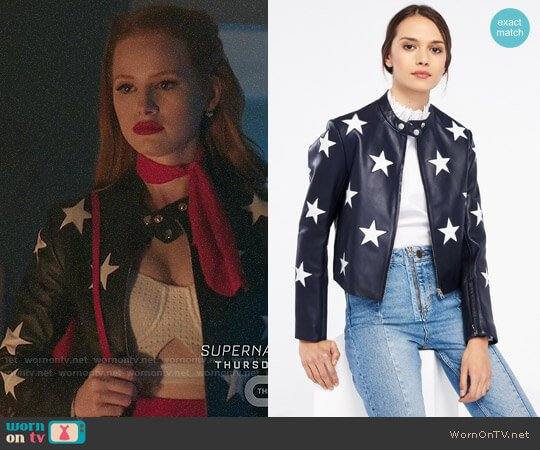 Sandro Leather Jacket with Stars worn by Madelaine Petsch on Riverdale