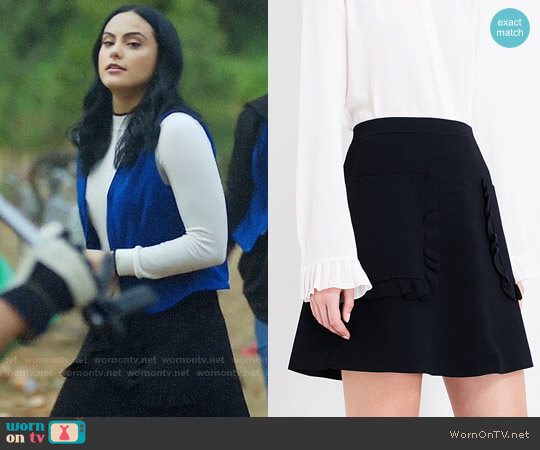 Sandro Ruffled Detail Knitted Skirt worn by Camila Mendes on Riverdale