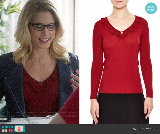 Sandro Ruffle Trim V-Neck Sweater worn by Felicity Smoak on Supergirl